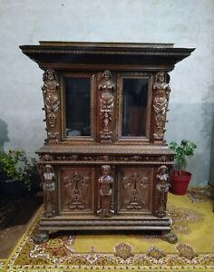 Antique Buffet Solid Oak Style Renaissance
