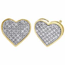 10K Oro Giallo Originale a Pavé Diamante Cuore Borchie Donna 11mm Orecchini 0.25