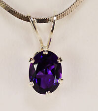 BEENJEWELED GENUINE NATURAL MINED AMETHYST OVAL PENDANT~STERLING SILVER~8 X 6MM