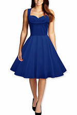 128 NEW VINTAGE BLUE ROCKABILLY SWING PIN UP EVENING DRESS SIZE 18 BN