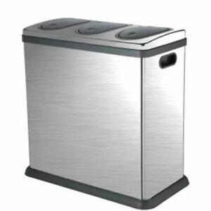 Trio 60 Litre Brushed Stainless Steel Kitchen Recycling Bin