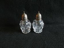 Heisey Waverly Salt and Pepper Set with Sterling Silver Lids