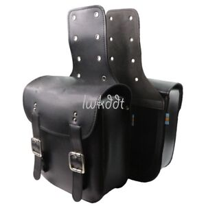 Pair Black Motorcycle Saddle Bags PU Leather Rider Panniers Luggage Universal