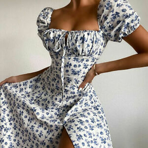Floral Wrapped Chest Lace Princess Sleeve High Waist Split Sexy Dress.