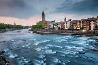 Verona Veneto Italy Cityscape Adige River Photo Art Print Poster 18x12 inch