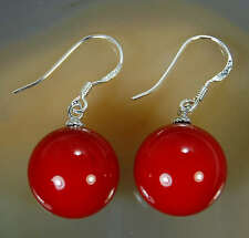New Pair 10mm Red South Sea Shell Pearl Bead 925 Silver Dangle Earrings