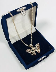 Silver tone Chain & Pendant Filigree & Red Crystal Butterfly Cute Pretty Costume