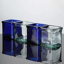 4 Windlicht Teelichtgläser Teelichthalter Kerzenhalter Kerzenleuchter Glas blau