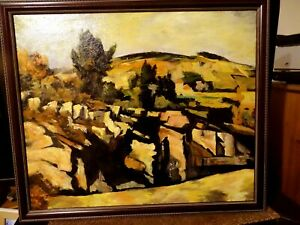 Oil painting, copy of Cezanne'' 'Mountains in Proven'. Framed, size670 x 565 mm