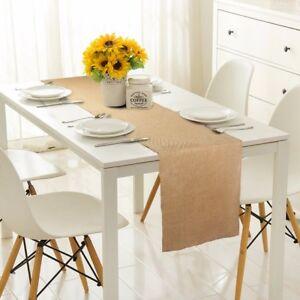 Burlap Table Runner Natural Jute Imitated Linen Tablecloth Rustic Wedding Decor