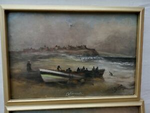 Maritime Oil On Canvas By James Putty Garbut 1815-95 Cullercoats Fishing Boats