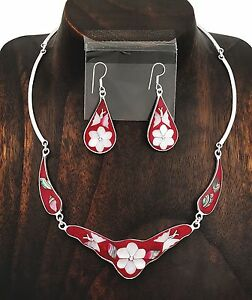 Berry Red Butterfly Abalone Mother of Pearl Necklace Earring Set from Taxco