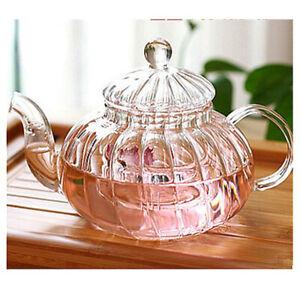 600ml Pumpkin Shape Glass Tea Pot Infuser Teapot Tea Leaf Herbal Warmer Teapot