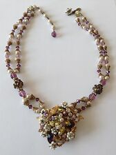 VINTAGE MIRIAM HASKELL SIGNED 2 STRAND PEARL PURPLE YELLOW RHINESTONE NECKLACE