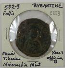 C273 Byzantine, Turkey, AE Follis of Maurice Tiberius, 582-3, Nicomedia Mint D