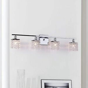 Crystal Beads Downlight Wall Sconce Lamp Vanity Square 4-Light Chrome Fixture