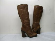 Jessica Simpson Tustiny Brown Leather Knee High Heel Boots Womens Size 7.5 B