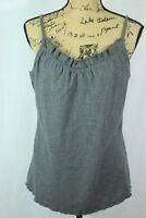 Eileen Fisher Wool Blend Ruffle Tank Sz Medium Sleeveless Top Soft Knit Raw Hem