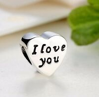 Genuine 925 Silver Sterling Words of Love I love you heart Charm +Pandora Pouch