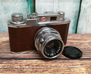 Serviced 1950s Halina 35X 35mm Film Camera in Brown Leather - 45mm f3.5 Lens