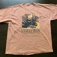 Vintage Longhorns Texas Dirt Men's Double-Sided Graphic Orange T-Shirt 2XL RARE