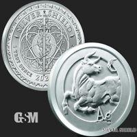 1 oz Silver BULLion Bull Ag Silver Shield SS Fine .999 Silver Round Coin 2021