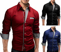 Men's Luxury Slim Fit Long Sleeve Buttons Shirts Tops Casual Pocket T Shirt Tee