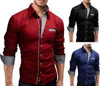 New Stylish Mens Slim Fit Casual Shirt Shirts Top Long Sleeve  S M L XL XXL PS06