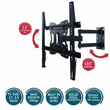 TILTING WALL MOUNT TV BRACKET 17 TO 55 INCH UNIVERSAL FLAT 180 SWIVEL ADJUSTABLE
