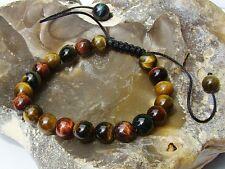 Piedra Preciosa Natural Mujeres Shamballa Bracelet todos los granos de 7 pulgadas 8mm Ojo De Tigre