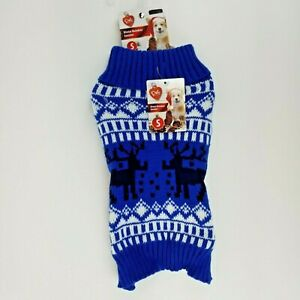 Puppy Dog Blue Christmas Winter Sweater Small Reindeer Fold Down Collar