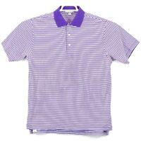 Peter Millar Polo Short Sleeve Shirt Purple White Stripe Medium Free Shipping