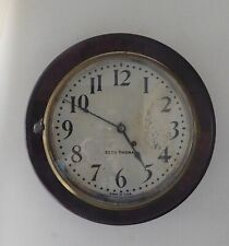 "Old Seth Thomas 16"" Round Wooden Mahogany Wall Clock  Working"