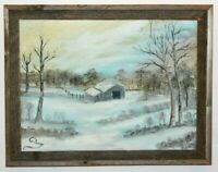 Art Orig. Oil on Canvas Painting of Snowy Winter Scene Landscape Signed Ginny