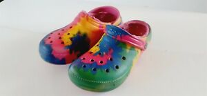Crocs Classic Tie Dye Graphic Clog Women's 9 Men's 7 Shoes Faux Fur Lined