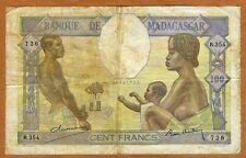 Madagascar, 100 Francs (1937), P-40, 726 > Scarce, Man, Woman, Child, Oxen