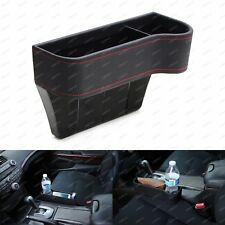 Black Leather Console Side Pocket Organizer, Car Seat Catcher w/ Cup Holder