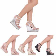 Mujer Damas Tacón Alto Moda Correa De Tobillo Plataforma Zapatos Sandalias de Cuña 3-8