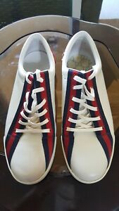 Gucci Boulevard White Leather Red / Blue Classic Logo Stripe Sneakers Shoes 10 D