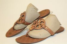 Tory Burch USED Womens Size 8.5 M Miller Leather Slip On Flat Thong Sandal Shoes