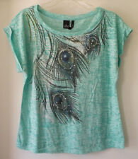 3d28bb9926115 New Directions Petite Short Sleeve Top Green Peacock Feather Poly Cotton  Size PL