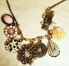 A Beautiful Bronze Vintage 7 Charms Flowers Pendant Choker Necklace,58cm,3cm