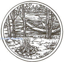 Canoe Lake Campfire Scene Wood Mounted Rubber Stamp Northwoods PP9110 New