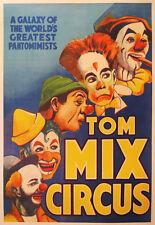 1938 ORIGINAL AMERICAN CIRCUS POSTER - TOM MIX CIRCUS, LARGE CLOWN WALL ART