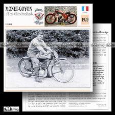 #032.04 MONET-GOYON 175 1929 VILLIERS BROOKLANDS Fiche Moto Motorcycle