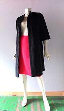 Vintage 1960s Ulla Vicki Cooper Black Faux Fur Mohair Long Coat Jacket Sz M 4 6