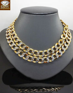 """22"""" 10k Gold Cuban Link Necklace Diamond Cuts Chain 11mm REAL 10KT Yellow Gold"""