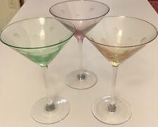 Artland Polka Dot Martini Glass Set Of 3 Color Green,purple,yellow