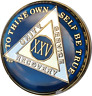 25 Year Midnight Blue AA Medallion Alcoholics Anonymous Chip Gold Tri-Plate XXV