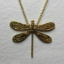 """LOVELY LARGE ART NOUVEAU STYLE bright GOLD PLATED DRAGONFLY PENDANT 18"""" -21"""""""